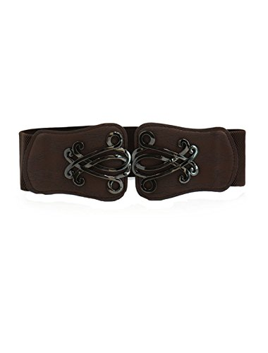 uxcell Women Elastic Cinch Belt Metal Buckle Flower Decor Leather Width 2.4 Inches Dark Brown L