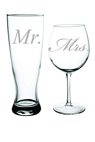 Mr. and Mrs. Beer and wine glass set – Perfect Bride and Groom toasting glasses. Great Couples Gift- Wedding Toasting Glass Set For Sale
