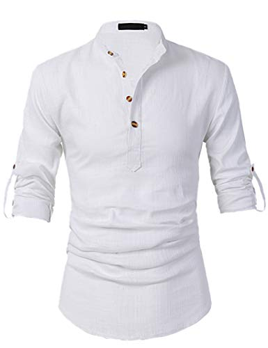 Leisurely Pace Roll up Long Sleeve Linen Banded Collar Slim fit Henley Shirts for Men (30WT, M) White