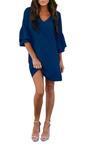 BELONGSCI Women's Dress Sweet & Cute V-Neck Bell Sleeve Shift Dress Mini Dress Navy