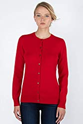Jennie Liu Women S 100 Cashmere Button Front Long Sleeve Crewneck Cardigan Sweater M Red