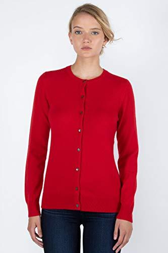 (JENNIE LIU Women's 100% Cashmere Button Front Long Sleeve Crewneck Cardigan Sweater (M, RED))