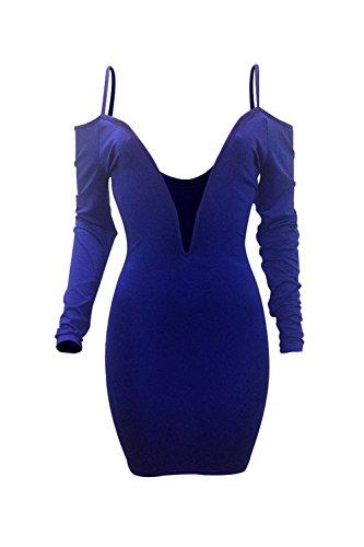 Vestido Bodycon Fiesta Elegante MIDI V Vestido Neck Sexy Deep Mujeres Blue Off De Hombro gw464v