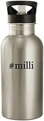 #milli - 20oz Hashtag Stainless Steel Water Bottle, Silver