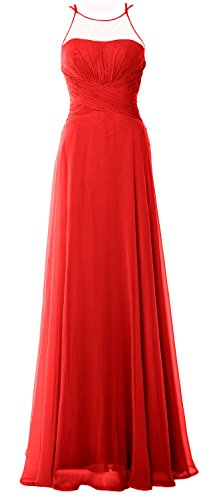 Dress Simple Macloth Bridesmaid Long Elegant Gown Halter Prom Chiffom Red Formal YWPPIwTHqg