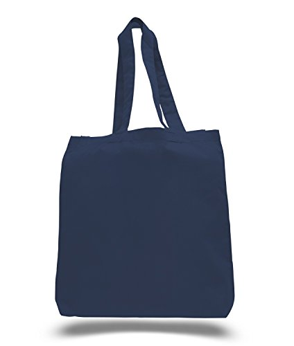 (3 Pack) Set of 3 Cotton Tote Bags Wholesale with Bottom Gusset (Navy)