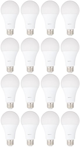 AmazonBasics 100 Watt Equivalent, Soft White, Dimmable, A21 LED Light Bulb, 16-Pack by AmazonBasics