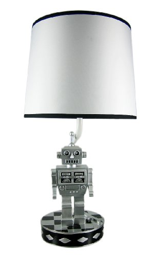Resin Childrens Lamps Retro 60`S Style Robot Table Lamp Sci-Fi Robotic 9 X 17.5 X 9 Inches Silver (Nine Light Retro)