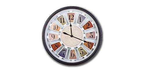 Smartsense 11 Inches Wall Clocks Silent Non-Ticking Multi-color Wall Clock Decorative Indoor Kitchen Clock, 3D Numbers Display, Battery Operated Wall Clocks (Length Width Height) (11 11 1.5) ()