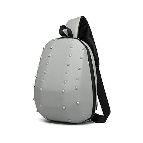 a borsa Messenger tracolla a stile grigio Menblu Carica Usb Borsa Brillante bambini tracolla per Personality ribattino For Ibg6f7vYym