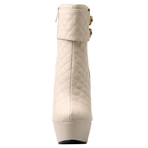 AIYOUMEI Damen Extrem High Heels Plateau Stiefeletten mit Schnalle und Reißverschluss Modern Party Stiefeletten Beige