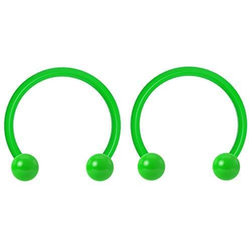 2pc 16g Dental-Grade Acrylic Green Horseshoe Hoop 3mm Ball Circular Barbells Earrings Cartilage Helix Septum Nose Lip Rings - 10mm