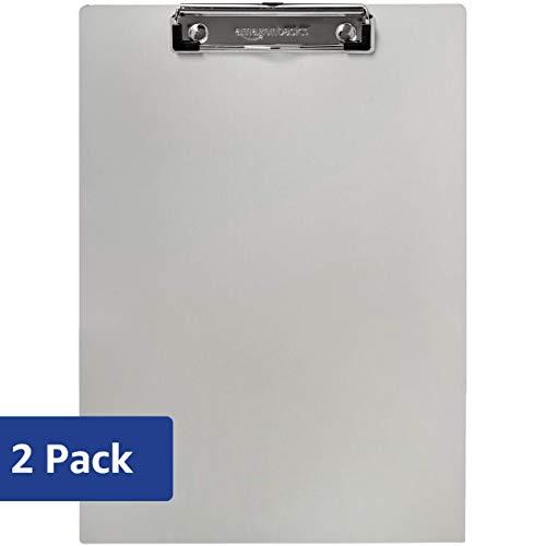 AmazonBasics Aluminum Office Clipboard, Letter Size, Pack of 2 ()