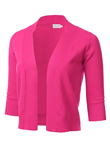 - FLORIA Womens Classic 3/4 Sleeve Open Front Cropped Cardigan Pink S