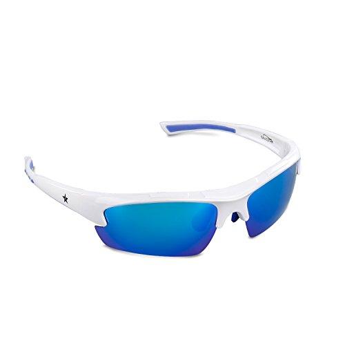 Polarized Sports Sunglasses with Unbreakable Lens and Heavy Duty Frame, Navestar Lightweight Stylish Sunglasses for Men & Women Outdoor Golf Hiking Climbing Baseball / White Frame Blue - Sunglasses Prescription Boys