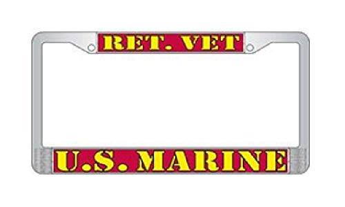 (US Armed Forces Military Metal License Plate Frame - United States Marine Corps USMC Retired )
