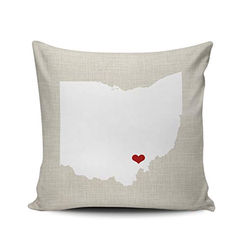 Pillow Printed Case State Ohio - Fanaing Gray Red and White Ohio State Personalized Pillowcase Home Sofa Decorative 20X20 Inch Square Throw Pillow Case Decor Cushion Covers Double Sided Printed