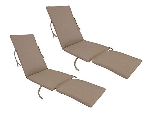 kingrattan.com Made in USA Steamer Chair Cushion Sunbrella Canvas Heather Beige (2-Pack) ()