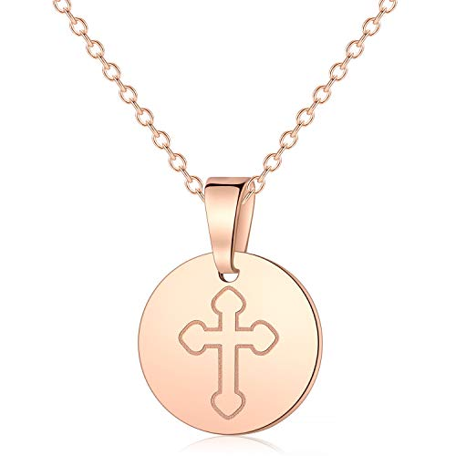 Vinjewelry Circle Rose Gold Cross Necklace Mysterious Gifts for Her