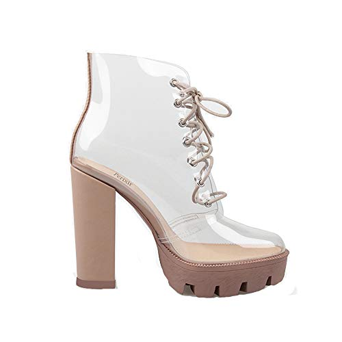 New Summer Peep Toe Ankle Sandals Boots Transparent Cross-Tied Crystal Square Heels Women's 12cm high Heels Shoes Woman (9M 39, Beige)