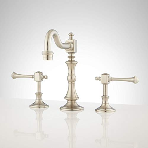 Signature Hardware 339716 Vintage 1.2 GPM Widespread Bathroom Faucet with Pop-Up Drain Assembly - No Overflow
