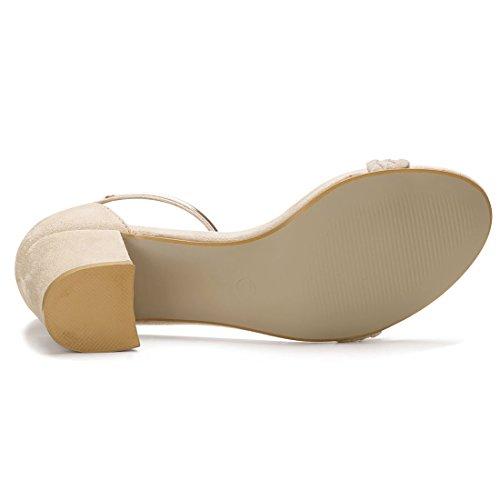 Allegra K Damen Offene Zehe Kreuz-Riemen Mittlere Blockabsatz Sandalen Sandalette Beige