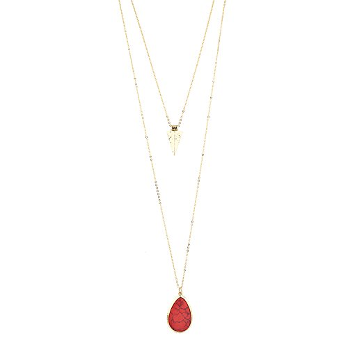 Lux Accessories Gold Tone Red Howlite Stone Teardrop Arrowhead Double Layered Necklace Set (Necklace Drop Large Stone)