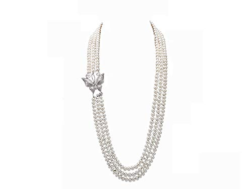 JYX Pearl Triple Strand Necklace AAA+ Quality 7.5-8mm Freshwater Cultured Pearl Opera ()