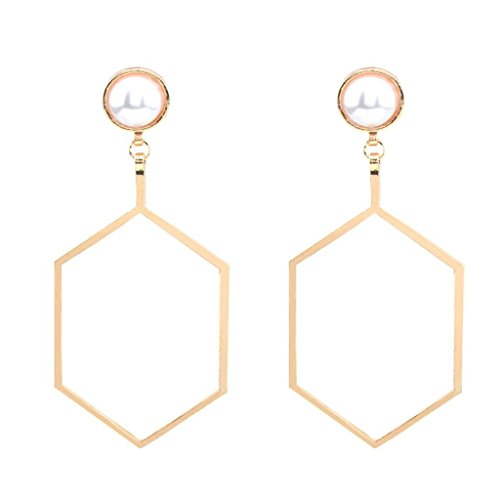 Women Jewelry ,AIMTOPPY Fashion Large Earring 1Pair Punk hexagon Personality Charm Metal Earrings Ear Hook Stud (Gold, (Free Jewelry Box Patterns)