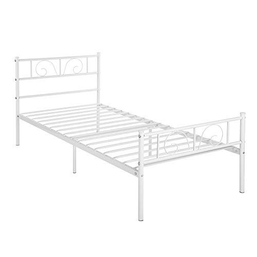 (GIME Bed Frame Twin Size, Yanni Adrina Easy Set-up Premium Metal Platform Mattress Foundation/Box Spring Replacement with Headboard and Footboard, Under-Bed Storage, Enhanced Sturdy Slats (White))