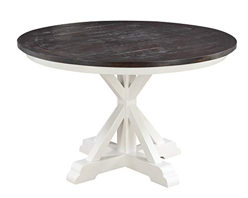 - Artum Hill DI10-856 Aspen Gathering Height Dining Table in Dark Bark and Distressed White with Round, Plank Style Top and Trestle Base, Mocha