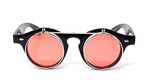 calidad UV400 de redondas círculo Lentes Retro de Marco gafas de Cyber Ultra Negro Rojas alta Steampunk sol gafas gafas vXHnwqt