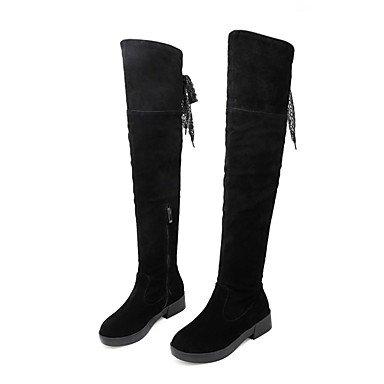 RTRY Zapatos De Mujer De Cuero De Nubuck Moda Otoño Invierno Botas Botas Chunky Talón Puntera Redonda Thigh-High Borla Botas(S) Para Vestimenta Casual Amarillo US5.5 / EU36 / UK3.5 / CN35