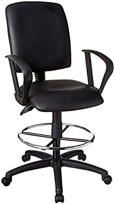Sensational Boss Office Products Multi Function Leatherplus Drafting Stool With Loop Arms In Black Gmtry Best Dining Table And Chair Ideas Images Gmtryco