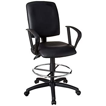 Image of Boss Office Products Multi-Function LeatherPlus Drafting Stool with Loop Arms in Black Home and Kitchen