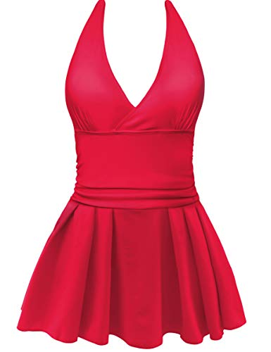 AONTUS Women's Plus Size Swimsuits Tummy Control One Piece Swim Dresses Bathing Suit (XXXX-Large(US Size:24W-26W), Z-Backless-Red)