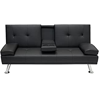Best Choice Products Modern Faux Leather Convertible Futon Sofa Bed  Recliner Couch W/Metal Legs