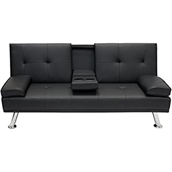 Amazon Com Best Choice Products Modern Faux Leather Futon Sofa Bed
