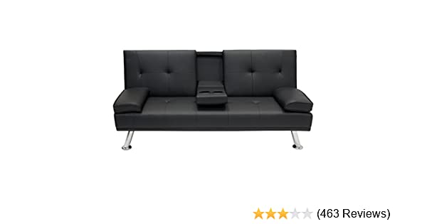 amazon.com: best choice products modern faux leather futon sofa bed fold up  u0026 down recliner couch with cup holders - black: home u0026 kitchen CSR2WS8U