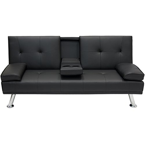 Set Up Living Room Furniture - Best Choice Products Modern Faux Leather Futon Sofa Bed Fold Up & Down Recliner Couch with Cup Holders - Black