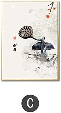 Imprimir en lienzo Tinta china Flores de loto Buda Mano y pez Imprimir Imagen Arte Pinturas Cartel para sala de estar-50x70cm Sin marco