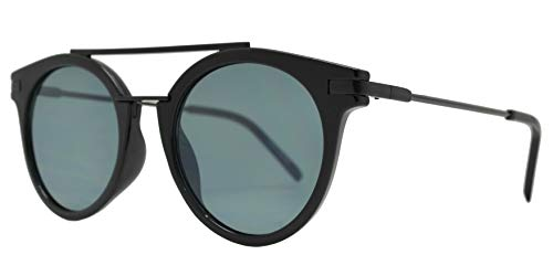 Retro Vintage Round Flat Lens Horn Rimmed Sunglasses with Metal Brow Bar (Black + Smoke) ()