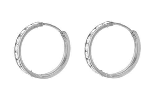 Carissima 9 ct Or blanc 17 mm Cubic zirconia Huggy Earrings