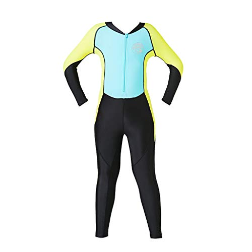 (CapsA Boys Girls Wetsuit Snorkeling Jumpsuit Thermal UV Protection Youth Swim Wetsuit Sky Blue)