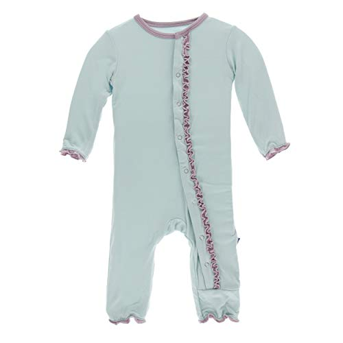Kickee Pants Little Girls Solid Muffin Ruffle Coverall with Snaps - Spring Sky with Sweet Pea, 3-6 Months
