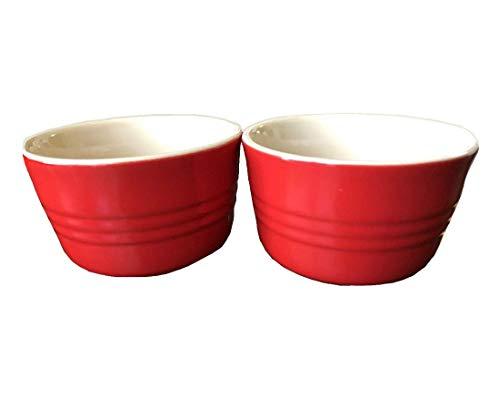 Le Creuset Stoneware Set of Two French Ramekins, 7 3/4 Oz., Chili Red