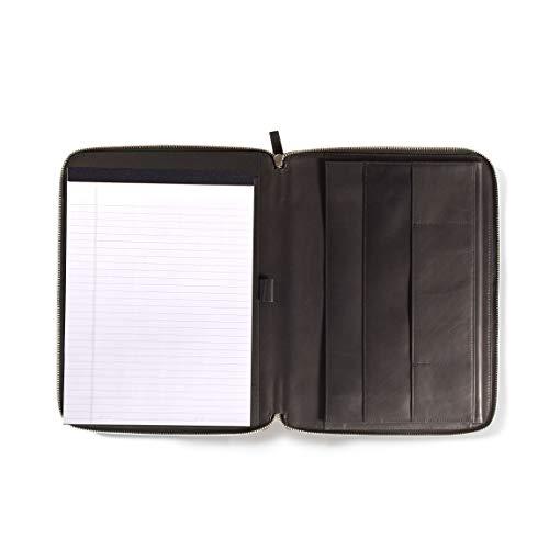 Left Handed Executive Zippered Portfolio - Full Grain German Leather Leather - Black Oil (Black)