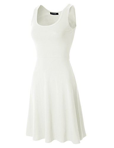 FLATSEVEN Womens Sleeveless Slim Fit and Flare Skater Dress (Made in USA) (WDRCM101) Ivory, L
