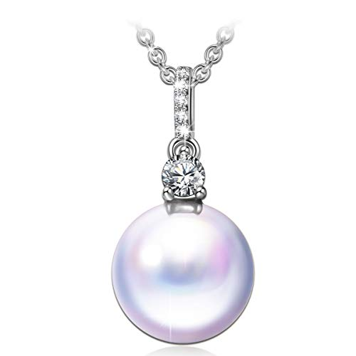 ANGEL NINA pearl pendant necklaces for women mom girls her anniversary birthday gifts for women grandma daughter valentines gifts for wife girlfriend 925 sterling silver pearl jewelry for women - Nina Pearl