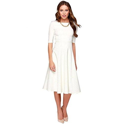 Dresses Modest Bridal (Dantiya Women's Half Sleeve Elegant Back Zipper A-Line Knee Long Dress, White, Medium)